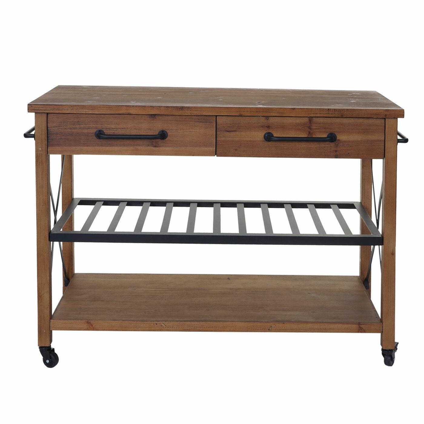 Trolley mcw-c86, Kitchen Trolley Bar Kitchen Helper, 85x114x47cm, Natural