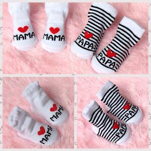 Bebe-Recien-Nacido-Nino-Calcetines-Media-Letra-Mama-Papa-Socks-mjbmjh