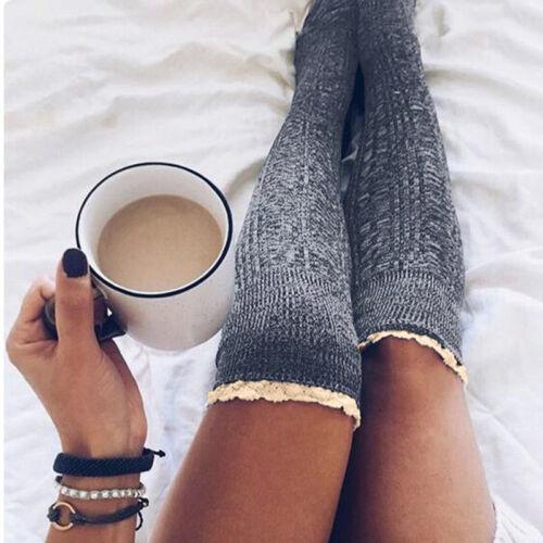 Neu Damen Overknee Strickstrümpfe Overknee Lang Socken Winter Warm Kniestrümpfe