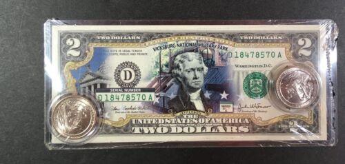 Vicksburg National Park Colorized $2 Bill P/&D Quarter Set Legal Tender