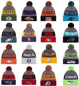 NEW-ERA-2016-17-SPORT-KNIT-NFL-On-field-Sideline-Beanie-Winter-Pom-Knit-Cap-Hat