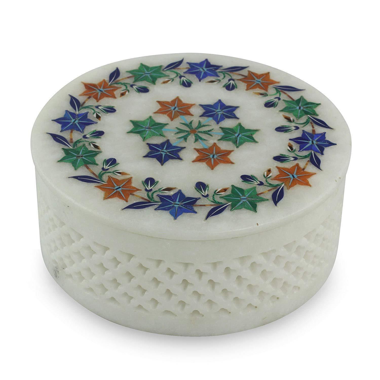 Marble ring Box handmade semi precious stone floral inlay art decor and gifts