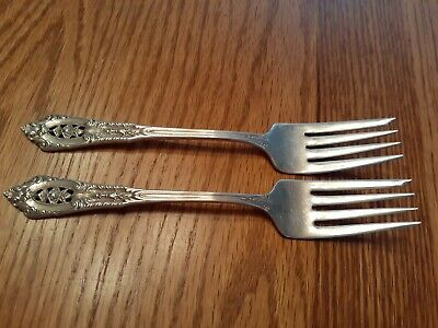 """ANTIQUE WALLACE STERLING SILVER 925 ROSE POINT 1934 INDIVIDUAL SALAD FORK 6 3//8/"""""""