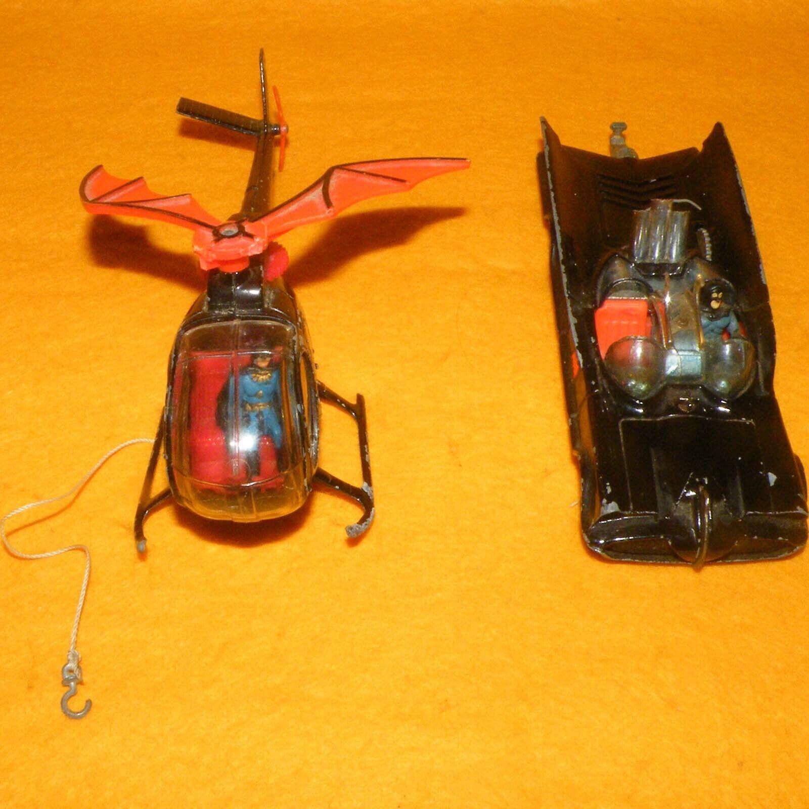 VINTAGE 70 s Corgi 267 Batman Batmobile Voiture 925 BATCOPTER Hélicoptère véhicules Lot