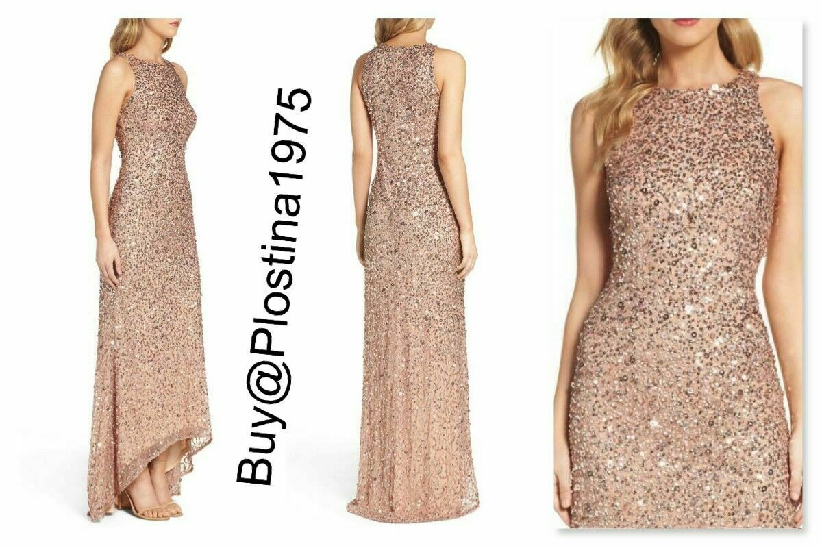 Adrianna Papell Sleeveless Sequin High/Low Gown Rose Gold Size 2 #D30