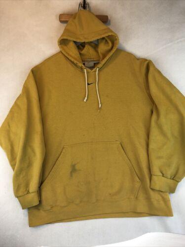 VTG Nike Rare Mustard Yellow Hoodie Sweatshirt Si… - image 1