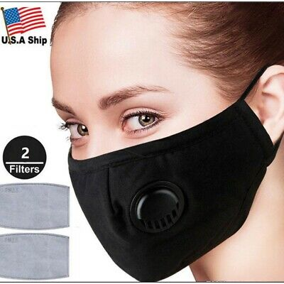 Washable Fabric Face Mask With Filter Pocket Air Vent Black Ebay