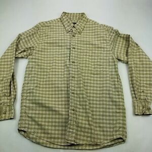 Eddie-Bauer-Plaid-Flannel-Button-Down-Shirt-Mens-Medium-Green-Pocket