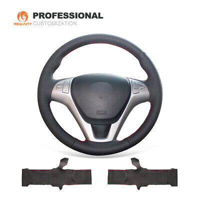 MEWANT Customized Black Genuine Leather Car Steering Wheel Cover for Hyundai Rohens Coupe 2009 Rohens Coupe Steering Wheels & Accessories