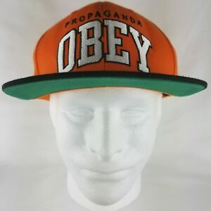 9a91acd80d0 Image is loading OBEY-Propaganda-Snapback-Embroidered-Hat-Cap-Orange-Black-