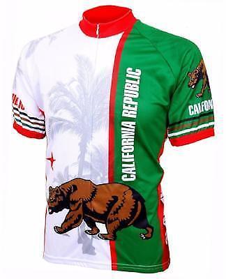 World Jerseys California Flag uomini ciclismo Jersey biancaverde Xgree bicicletta