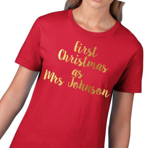 Or Premier Noël comme Mme Personnalisé Noël T Shirt pour Femme Mariage CH55