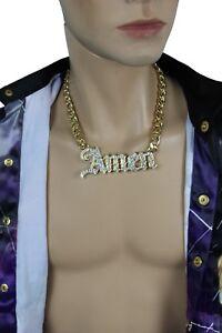Men-Fashion-Necklace-Gold-Metal-Chains-Amen-3D-Pendant-Bling-Hip-Hop-Big-Jewelry