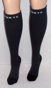 544debea8b 2 pair Compression Knee Hi Socks Ribbed GRAY 8-15 MMHG Graduated 10 ...