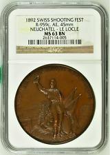 Rare Switzerland 1892 Bronze Shooting Medal Neuchatel Le Locle R-959c NGC MS63