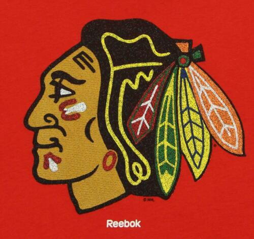 Reebok NHL Kids Chicago Blackhawks Short Sleeve Distressed Logo Tee Red