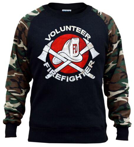 New Men/'s Volunteer Firefighter Camo Raglan Sweatshirt Fire Man Rescue Team Hat