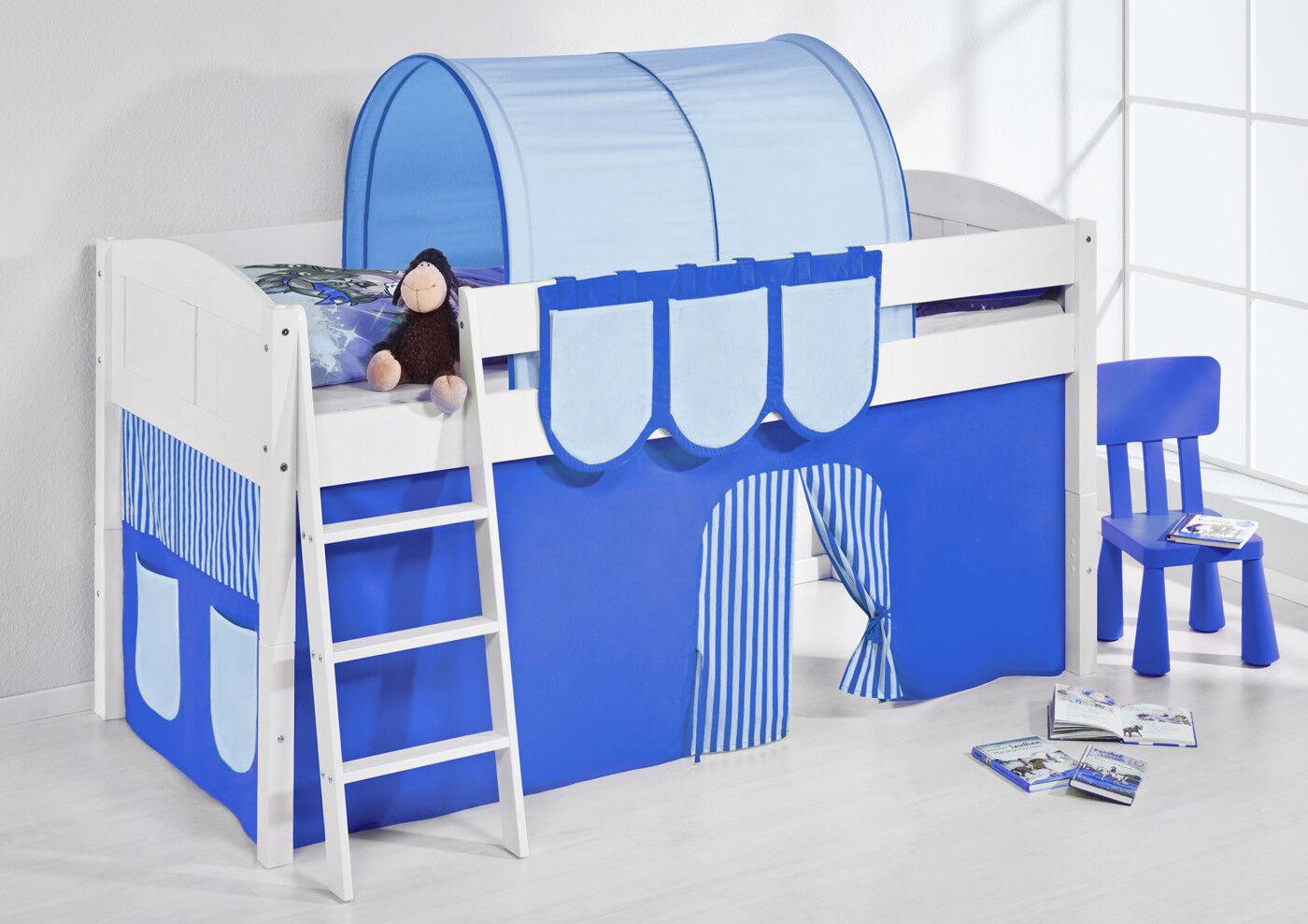 Lit Lit -landi Bleu Bleu Clair -teilbar-kiefer Blanc-Avec Rideau