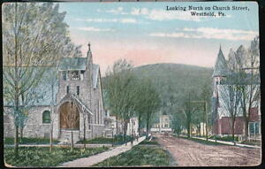 WESTFIELD-PA-Church-Street-Vintage-1918-Postcard-Early-Town-View-Pennsylvania-PC