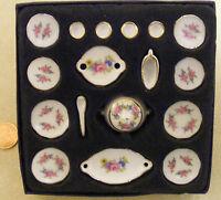 1:12 Scale Ceramic 17 Piece Dolls House Miniature Pink Rose Dinner Service DA132
