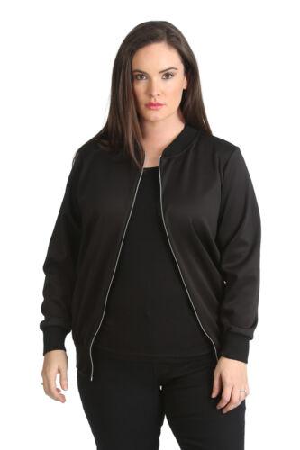 New Ladies Bomber Jacket Womens Plus Size Ribbed Varsity Style Warm Nouvelle