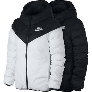Details zu Women Nike Down Reversible Windrunner Jacket 939438 010 White Black Parka NSW