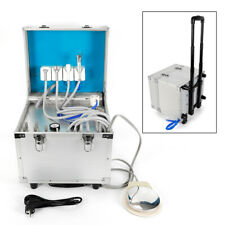 Portable Dental Box Mobile Delivery Rolling Case Air With Compressor 4 Holes Set