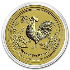 NEW ! ~2017~ 1/20th~OZ PURE.9999 GOLD ~ YEAR of the ROOSTER ~ PERTH MINT~ $98.88