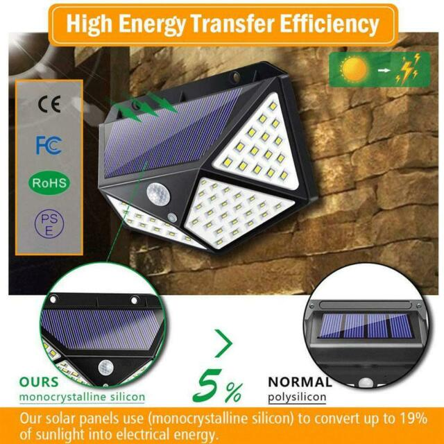100 LED Solar Power PIR Motion Sensor Waterproof  Wall Light Outdoor Garden Lamp