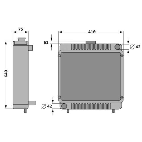 Radiador agua refrigerante adecuado para Massey Ferguson MF 165