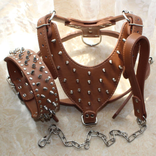 Spiked Studded Leather Dog Harness Collar Leash Lead set for Pit Bull Mastiff
