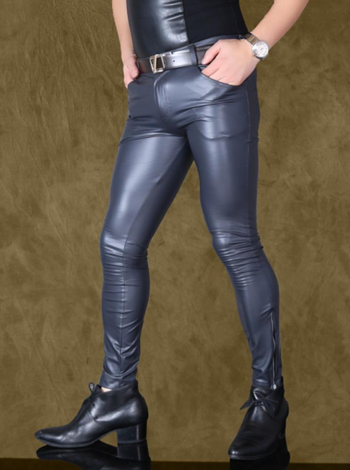 Men Sexy Slim Fit Pants Faux Leather Matte Personalized Trousers Casual Stylish