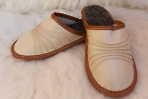 WOMENS LADIES ECO LEATHER /& NATURAL SHEEPS WOOL FELT WARM SLIPPERS ALL SIZES