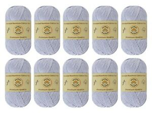 10-pack-Set-034-White-Gray-034-Worsted-Bamboo-Cotton-Yarn-Skein-Premium-Quality