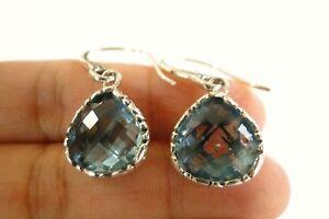 Pear-Shaped-Blue-Topaz-Ornate-925-Sterling-Silver-Dangle-Drop-Earrings