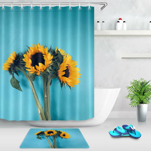 Bathroom Waterproof Fabric Shower Curtain Set Blue Background Bouquet Sunflowers