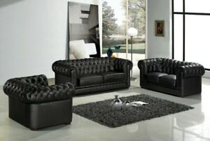 Details about Designer Chesterfield Sofa Set Leather 3+2+1 Leather Fabric  Couch Pads Sofa
