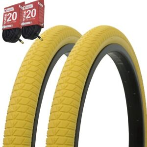 """Bike Tyres /& Tubes 20/"""" X 1.75/"""" Yellow//Yellow Side Wall P-1064 1 Pairs"""