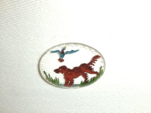 Unmounted Essex Crystal Glass Cabochon ~ Hunting Dog//Setter//Retriever Dog Design