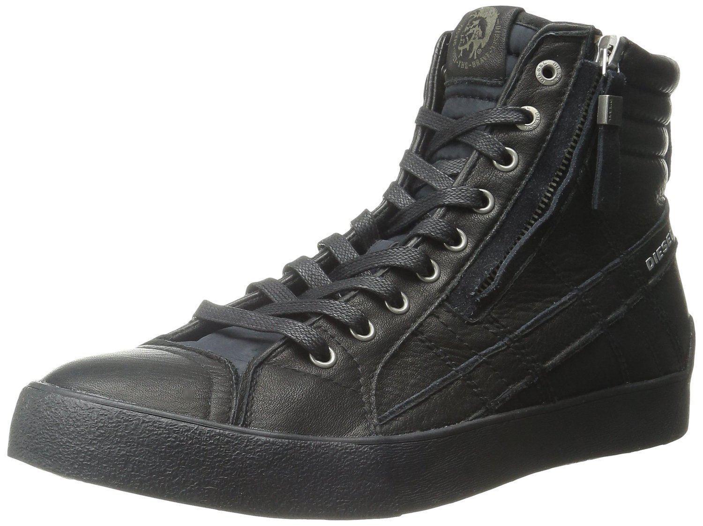 Diesel D Velows D String Plus Black Mens Mens Black Leather Hi Trainers c6feef