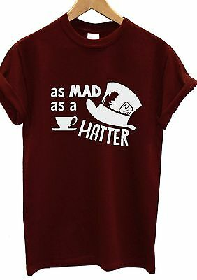 white mad hatter t-shirt alice in wonderland  quote slogan small lady fit new