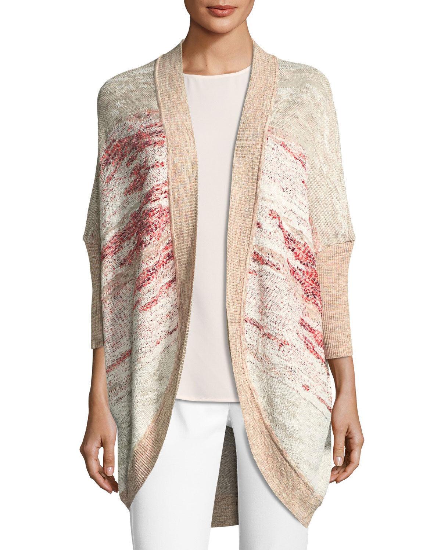 NEW St. John Ombre Textured Jacquard Knit Cardigan in Cream Multi - Size L