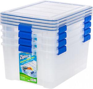 Clear 60 Qt Weathershield Seal Storage Box Set Of 4 Home