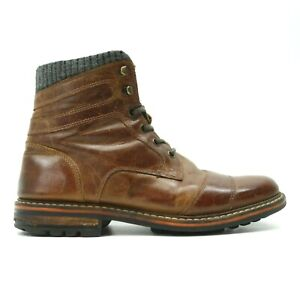 Buckle-x-Crevo-Cayson-Mens-Tan-Brown-Leather-Zip-Mid-Boots-Size-US-9-EU-42