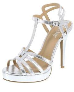 abc0750d729 Brash Women s Silver Heidi Platform High Heel Sandals Regular Size ...