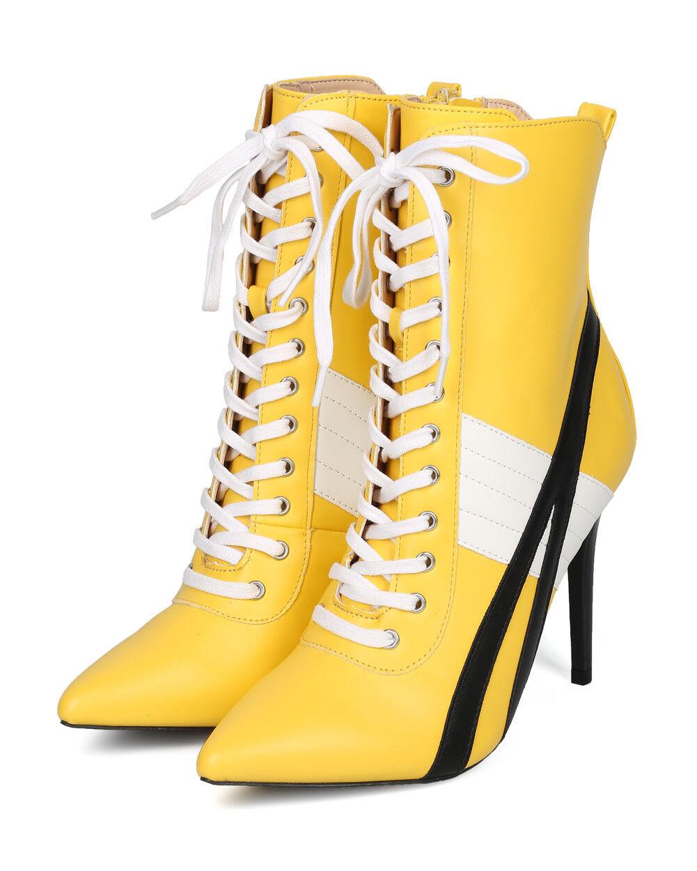 New Women Wild Diva Akira-142 Pointy Toe Sports Stripe Lace Up Stiletto Bootie