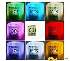 LED Color Changing Digital Alarm Calendar Temperature Clock Glowing Clock