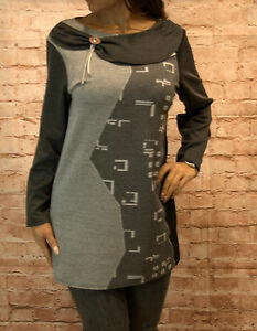 Bluse-Tunika-Oberteil-Damen-Pulli-Langrm-Shirt-Gr-44-46-48-50-52-grau