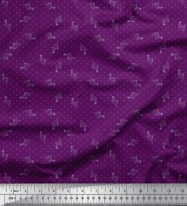 Soimoi-Stoff-dot-amp-Miosotis-Blumen-Stoff-Meterware-bedrucken-FL-1207J