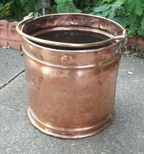 Antique-Arts-amp-Crafts-Copper-Scuttle-Log-Basket